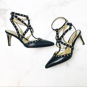 Sam Edelman Ocie Black Studded Ankle Strap Heels